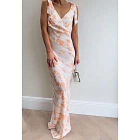 Women's Maxi Sheath Dress - Sleeveless Geometric Summer V Neck Elegant Slim 2020 Blushing Pink S M L XL XXL XXXL