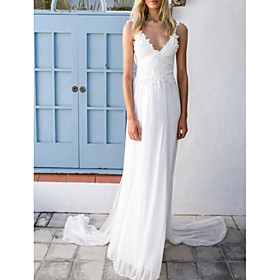 A-Line Wedding Dresses V Neck Spaghetti Strap Sweep / Brush Train Chiffon Lace Sleeveless Vintage Sexy Wedding Dress in Color Backless with Sashes / Ribbons Pl