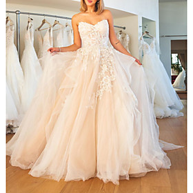 Ball Gown Wedding Dresses Strapless Sweep / Brush Train Lace Tulle Sleeveless Formal Plus Size with Embroidery Cascading Ruffles 2020