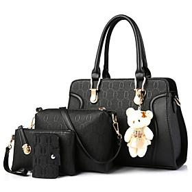 Women's Bear PU Bag Set Bag Sets 4 Pieces Purse Set Black / Champagne / Blue