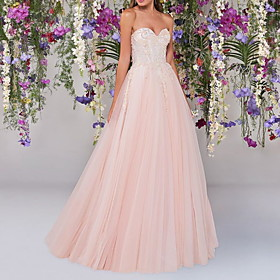 A-Line Wedding Dresses Strapless Floor Length Lace Tulle Sleeveless Country Wedding Dress in Color with Embroidery Appliques 2020