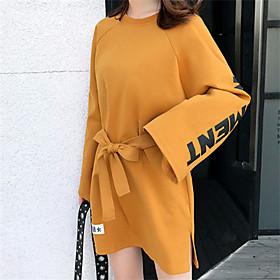 Women's A Line Dress - Long Sleeve Letter Summer Fall Casual Holiday Going out 2020 Yellow M L XL XXL XXXL