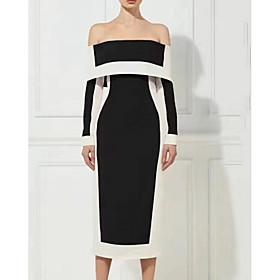 Sheath / Column Color Block Minimalist Party Wear Cocktail Party Dress Off Shoulder Long Sleeve Tea Length Jersey with Sleek 2020