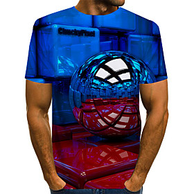 Men's 3D T-shirt Basic Exaggerated Daily Round Neck Blue / Red / Yellow / Green / Light Blue / Short Sleeve