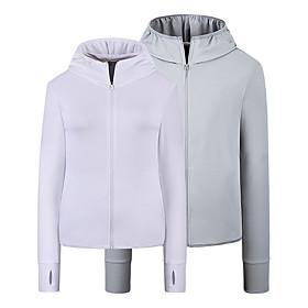 Men's Full Zip Elastane Track Jacket Hoodie Jacket Running Jacket Hooded Running Walking Fitness UPF 50 UV Sun Protection Sportswear Jacket Top Long Sleeve Act