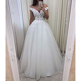 A-Line Wedding Dresses V Wire Sweep / Brush Train Lace Tulle Short Sleeve Sexy See-Through with Embroidery 2020