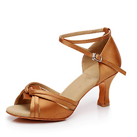 Women's Latin Shoes Satin Heel Cuban Heel Customizable Dance Shoes Brown Category:Latin Shoes; Upper Materials:Satin; Lining Material:Fabric; Heel Type:Cuban Heel; Gender:Women's; Style:Heel; Outsole Materials:Leather; Occasion:Practice,Performance; Customized Shoes:Customizable; Listing Date:05/28/2020; Size chart date source:Provided by Supplier.