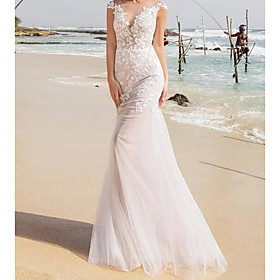 Mermaid / Trumpet Wedding Dresses Jewel Neck Sweep / Brush Train Lace Tulle Sleeveless Sexy See-Through with Embroidery 2020