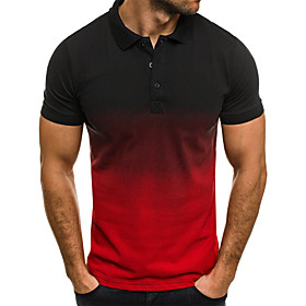 Men's Color Block Black  Red Patchwork Polo Business Basic Daily Work White / Red / Green / Gray