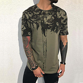 Men's Floral Solid Colored Black  Gray Print T-shirt Basic Rock Daily Holiday Black / Red / Green