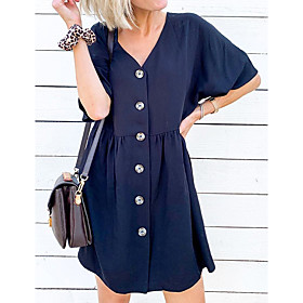 Women's A Line Dress - Short Sleeves Solid Color Patchwork Summer V Neck Street chic Going out Weekend Flare Cuff Sleeve Belt Not Included Loose 2020 Navy Blue