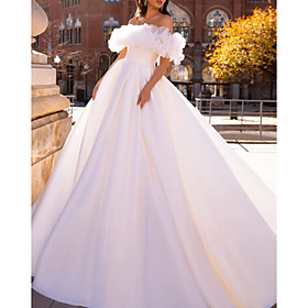 Ball Gown Wedding Dresses Off Shoulder Sweep / Brush Train Satin Tulle Short Sleeve Formal with Ruffles 2020