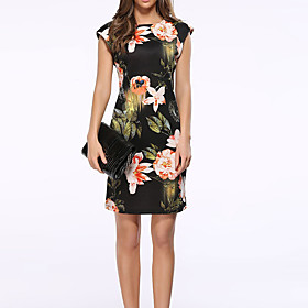 Women's Sheath Dress - Sleeveless Print Summer Fall Elegant Street chic Party Belt Not Included 2020 Black S M L XL XXL XXXL