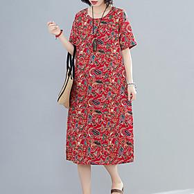 Women's A Line Dress - Short Sleeves Print Spring Summer Vintage Mumu Daily Weekend Loose Linen Red Blushing Pink Green M L XL XXL / Cotton