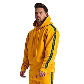 Men's Cotton Hoodie Sweatshirt Hoodie Winter Pullover Active Training Fitness Jogging Breathable Moisture Wicking Soft Sportswear Stripes Top Long Sleeve Activ