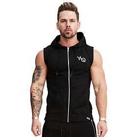 Men's Full Zip Cotton Running Tank Top Hoodie Jacket Workout Shirt Active Training Fitness Jogging Breathable Soft Sportswear Top Sleeveless Activewear Micro-e