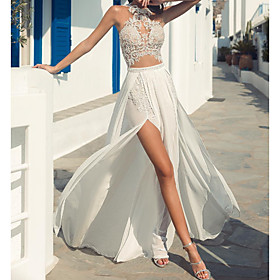 A-Line Wedding Dresses Halter Neck Court Train Lace Chiffon Over Satin Sleeveless Beach Boho Sexy See-Through with Embroidery Split Front 2020