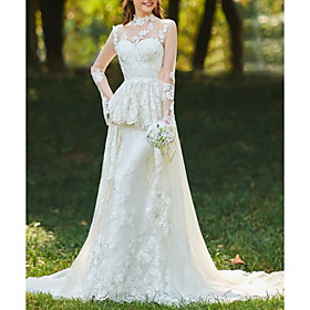A-Line Wedding Dresses High Neck Sweep / Brush Train Chiffon Lace Tulle Long Sleeve Romantic Sexy See-Through Backless with Ruched Embroidery 2020