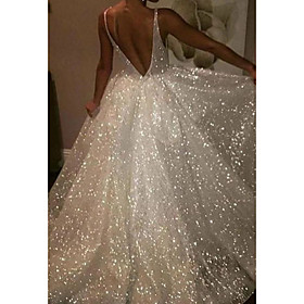 A-Line Wedding Dresses V Neck Sweep / Brush Train Tulle Sequined Sleeveless Sexy Sparkle  Shine with 2020