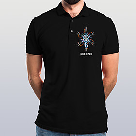 Men's Graphic Polo Basic Elegant Daily Going out Black