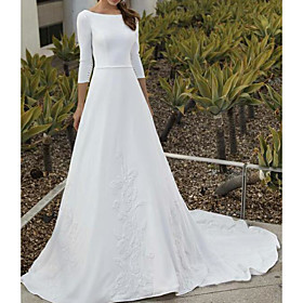 A-Line Wedding Dresses Jewel Neck Sweep / Brush Train Satin 3/4 Length Sleeve Simple Backless with Sashes / Ribbons Embroidery 2020