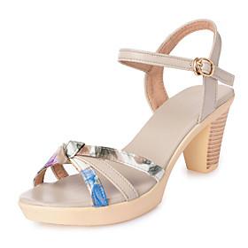 Women's Sandals Spring  Summer / Fall  Winter Chunky Heel Sweet Minimalism Party  Evening Home Geometric PU Beige