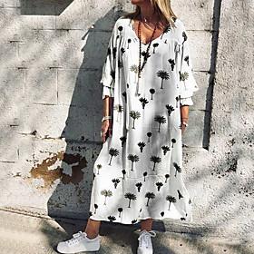 Women's Shirt Dress - Long Sleeve Floral Summer V Neck Casual 2020 White S M L XL XXXL