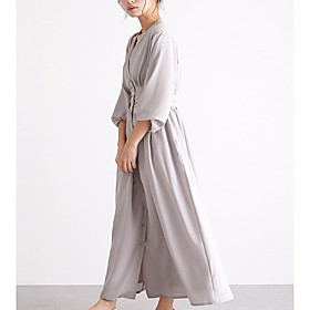 Women's A-Line Dress Maxi long Dress - Long Sleeve Solid Color Summer Work 2020 Black Light gray Brown Navy Blue One-Size