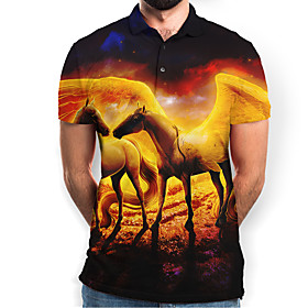 Men's Graphic Animal Horse Slim Polo Basic Elegant Daily Going out Brown / Short Sleeve