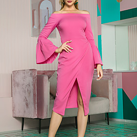 Women's A Line Dress - 3/4 Length Sleeve Solid Color Zipper Spring Summer Formal Elegant Daily Going out Flare Cuff Sleeve 2020 Fuchsia S M L