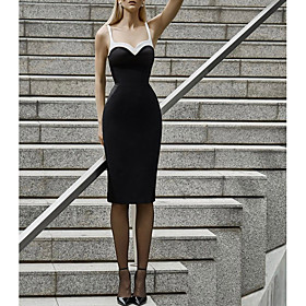 Mermaid / Trumpet Little Black Dress Black Party Wear Cocktail Party Dress Spaghetti Strap Sleeveless Knee Length Nylon with Sleek 2020
