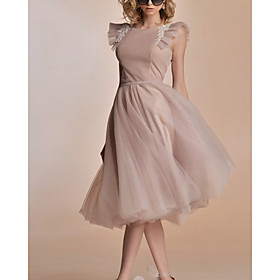 A-Line Flirty Minimalist Holiday Cocktail Party Dress Jewel Neck Sleeveless Knee Length Tulle with Pleats Embroidery 2020