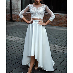 Two Piece A-Line Wedding Dresses Jewel Neck Asymmetrical Lace Satin 3/4 Length Sleeve Beach Boho Sexy See-Through with 2020