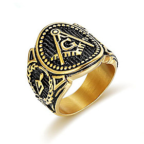 Men's Ring 1pc Gold Titanium Steel Round Vintage Gift Festival Jewelry Classic Totem Series