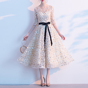 A-Line Minimalist Sparkle Homecoming Cocktail Party Dress V Neck Half Sleeve Tea Length Sequined with Sash / Ribbon Sequin 2020