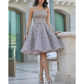A-Line Sexy Grey Homecoming Cocktail Party Dress Strapless Sleeveless Short / Mini Satin with Beading 2020