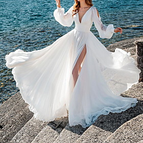 A-Line Wedding Dresses V Neck Sweep / Brush Train Chiffon Over Satin Long Sleeve Simple Beach Sexy See-Through with Split Front 2020