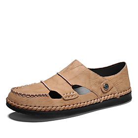 Men's Summer Casual Daily Loafers  Slip-Ons PU Non-slipping Light Brown / Black / Brown