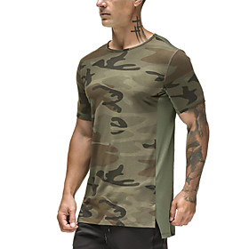 Men's Cotton Running T-Shirt Workout Shirt Round Neck Active Training Fitness Jogging Breathable Moisture Wicking Soft Sportswear Camo / Camouflage Tee / T-shi