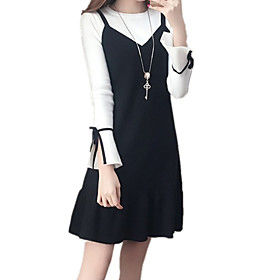 Women's A Line Dress - Long Sleeve Solid Color Summer Fall Casual Daily Going out Slim 2020 Black S M L XL XXL XXXL