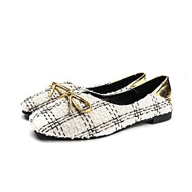 Women's Flats Spring   Fall / Spring  Summer Flat Heel Square Toe Casual Daily Sequin Canvas Black / Beige