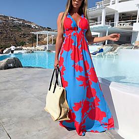Women's Maxi Sheath Dress - Sleeveless Floral Summer V Neck Street chic Daily Belt Not Included 2020 Blushing Pink S M L XL XXL XXXL