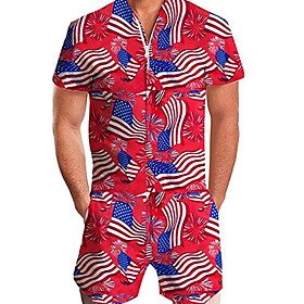 Men's Basic Red Romper National Flag Print