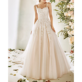 A-Line Wedding Dresses Spaghetti Strap Sweep / Brush Train Lace Tulle Sleeveless Vintage Sexy Wedding Dress in Color Backless with Embroidery Appliques 2020