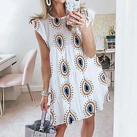 Women's A-Line Dress Knee Length Dress - Short Sleeves Print Summer Elegant 2020 White S M L XL XXL