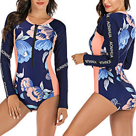 Women's One Piece Swimsuit Floral / Botanical Padded Swimwear Swimwear Dark Navy Breathable Quick Dry Comfortable Long Sleeve - Swimming Surfing Water Sports A