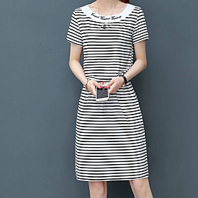 Women's A Line Dress - Short Sleeves Striped Summer Fall Casual Holiday Going out Slim 2020 White Black Gray M L XL XXL XXXL