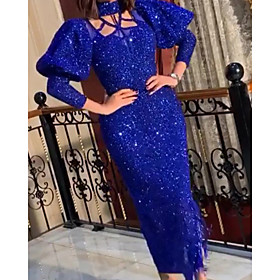 Sheath / Column Elegant Glittering Party Wear Prom Dress High Neck Long Sleeve Ankle Length Sequined with Sequin 2020
