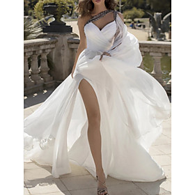 A-Line Wedding Dresses One Shoulder V Neck Sweep / Brush Train Chiffon Sleeveless Vintage Sexy Wedding Dress in Color with Split Front 2020
