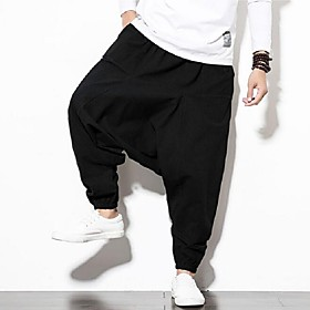 Men's Chinoiserie Slim Linen Harem Pants Solid Colored Black Red Navy Blue US34 / UK34 / EU42 US36 / UK36 / EU44 US38 / UK38 / EU46